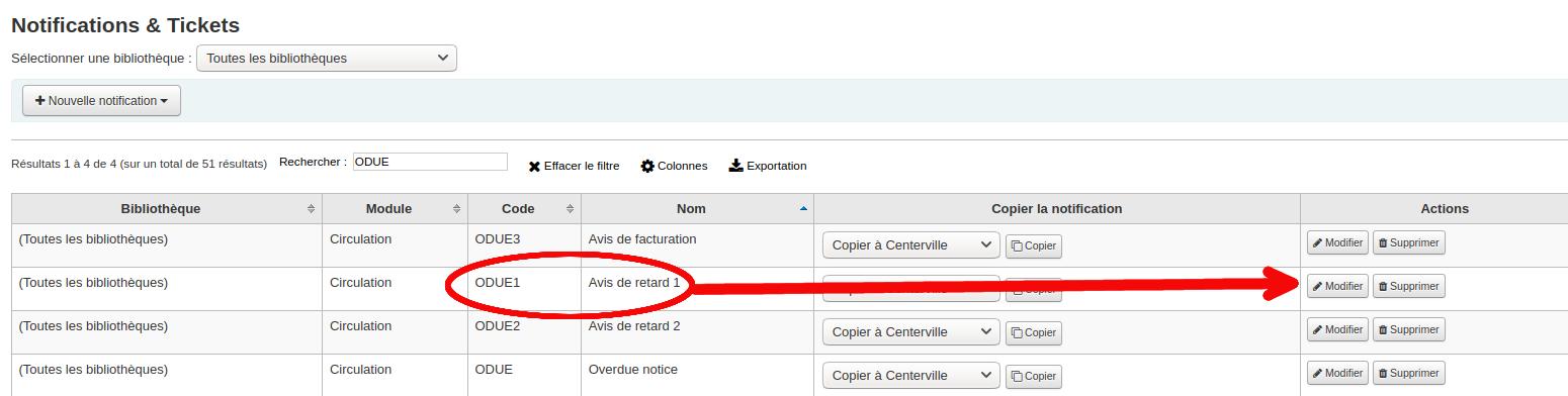 bouton modifier de la page de notifications & ticket
