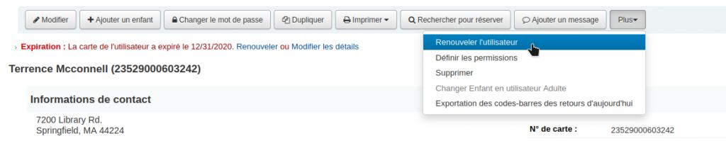 Le curseur se trouve sur l'option Renouveler l'utilisateur dans le menu Plus