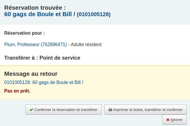 fenêtre de confirmation de réservation (avec transfert)