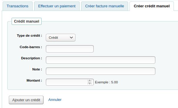 formulaire de crédit manuel