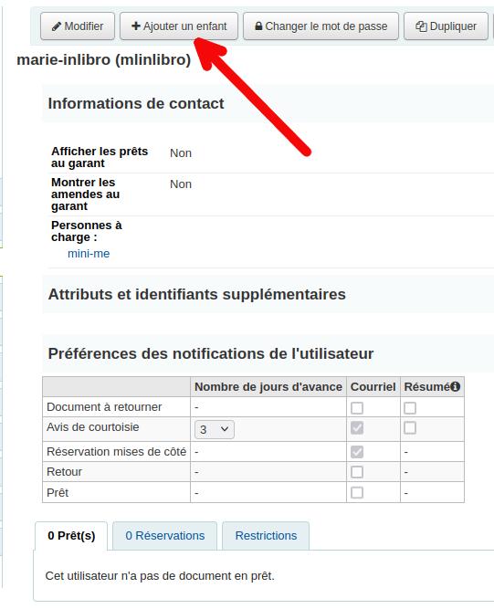 bouton «Ajouter un enfant» de la page détails