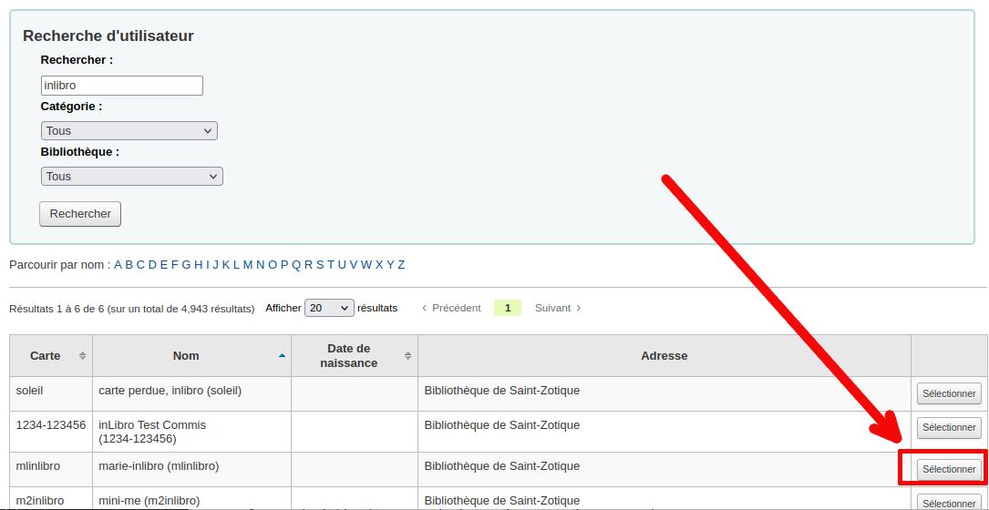 bouton «Sélectionner» à droite de la liste d'usager dans la fenêtre de recherche de garant