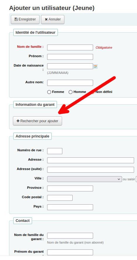 bouton «Rechercher» de la section garant du formulaire de nouvel utilisateur