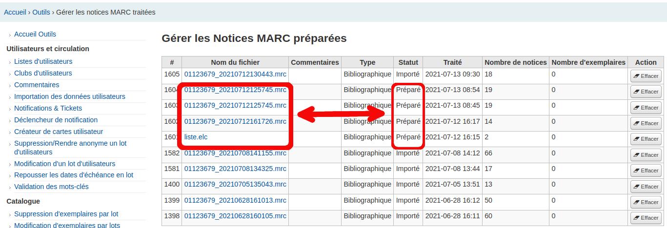 liste complète des fichiers d'importation de notice