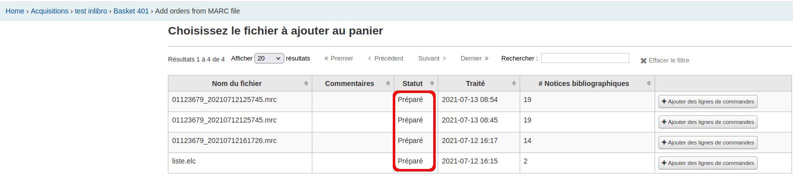 statut préparé des fichiers de l'option commande «à partir d'un fichier importé»