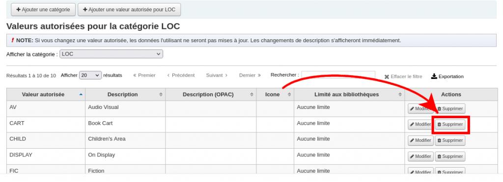 """Capture d'écran de la liste de valeurs autorisées LOC, une flèche pointe vers le bouton """"Supprimer"""" qui est entouré."""