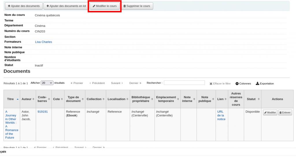 Détails d'un cours et liste des documents de ce cours, le bouton Modifier le cours en haut est mis en évidence
