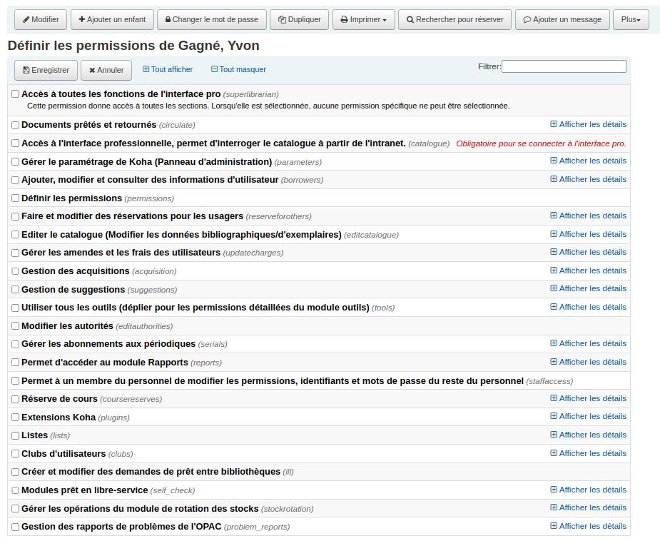 Capture d'écran de la liste des permissions dans le dossier de l'utilisateur
